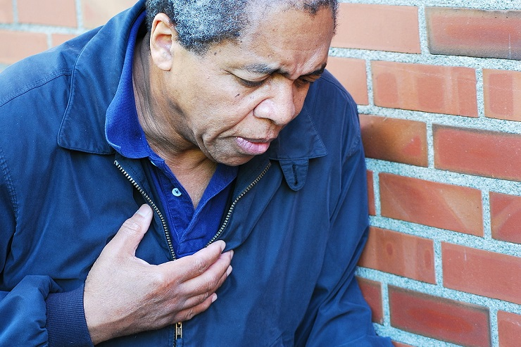 African American male having severe chest pains.