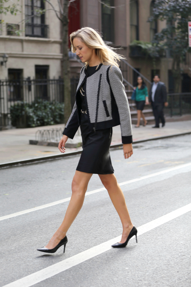 full+walking+jacket+ann+taylor+power+pieces+black+sheath+dress+chevron+knit+biker+jacket+zippers+gold+jewelry+leather+waist+belt+chain+